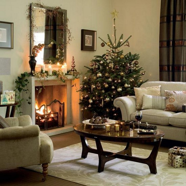 Christmas Tree Decorating Ideas classical living room with Christmas