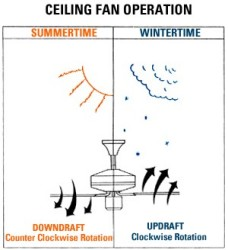 ceiling fan rotation to push air down