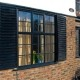 Modern Black Aluminium Window with black blinds