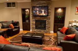 Room Yet Simple Home Theater Ideas With Fireplace In Stone Wall Accent ...