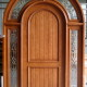 wood exterior arched door with glass