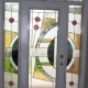 Wooden front doors with glass multicolored