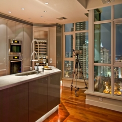 small kitchen and large window design